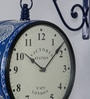 Blue Iron 11.2 x 5.7 x 12.5 Inch Hand Painted Elegant Victoria Station Wall Clock by Medieval India