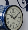 Blue Iron 9 x 5.4 x 12.5 Inch Hand Painted Victoria Station Wall Clock by Medieval India