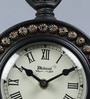 Medieval India Brown Wood & Brass 6.1 x 4.1 x 9.1 Inch Table Clock with Stand