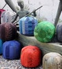 Medina Hand-Made Pouffe in Grey Colour by The Rug Republic
