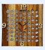 Divine Decor Brown Teak Wood 12 x 0.3 x 12 Inch Wall Clock