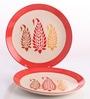 Meraki By Sonal Buti White & Red Ceramic Round Dinner Plate - Set Of 2