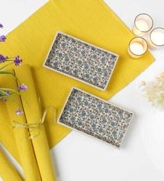 Miah Decor Green Flowers Stoneware Trays - Set Of 2 - 1666925