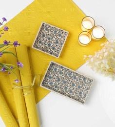 Miah Decor Green Flowers Stoneware Trays - Set Of 2