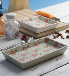 Miah Decor Handcrafted Decal Rust Flowers Ceramic Serving Tray - Set Of 2
