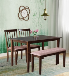 4 seater dining set solid wood miso four seater dining set with bench in dark cappuccino finish sets buy online