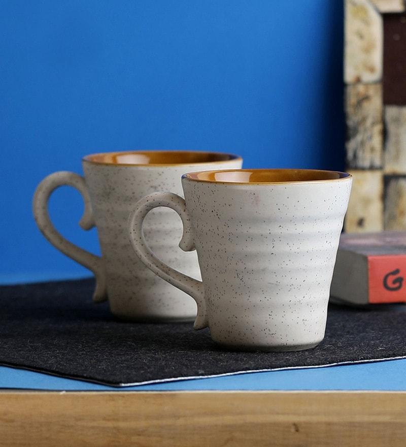 Miah Decor Eco Friendly Stoneware 300 ML Handmade Mugs - Set of 2
