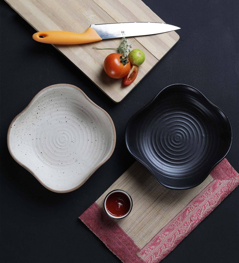 Miah Decor Handcrafted Cream & Black Stoneware Platters-Set of 2