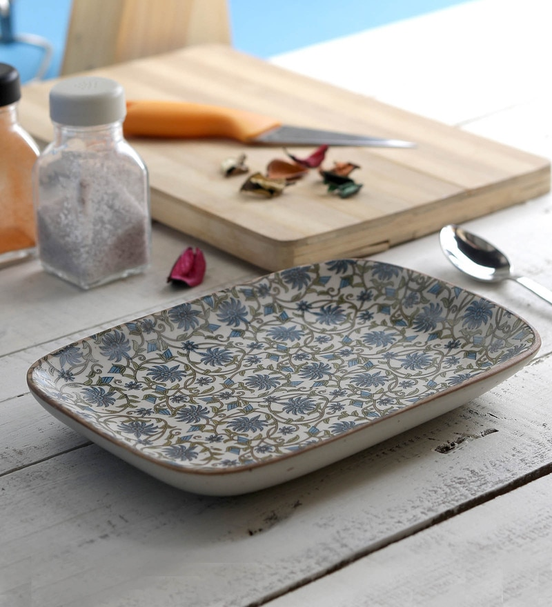 Miah Decor Handcrafted Green Flowers Nut Serving Stoneware Trays & Platters-Set of 2