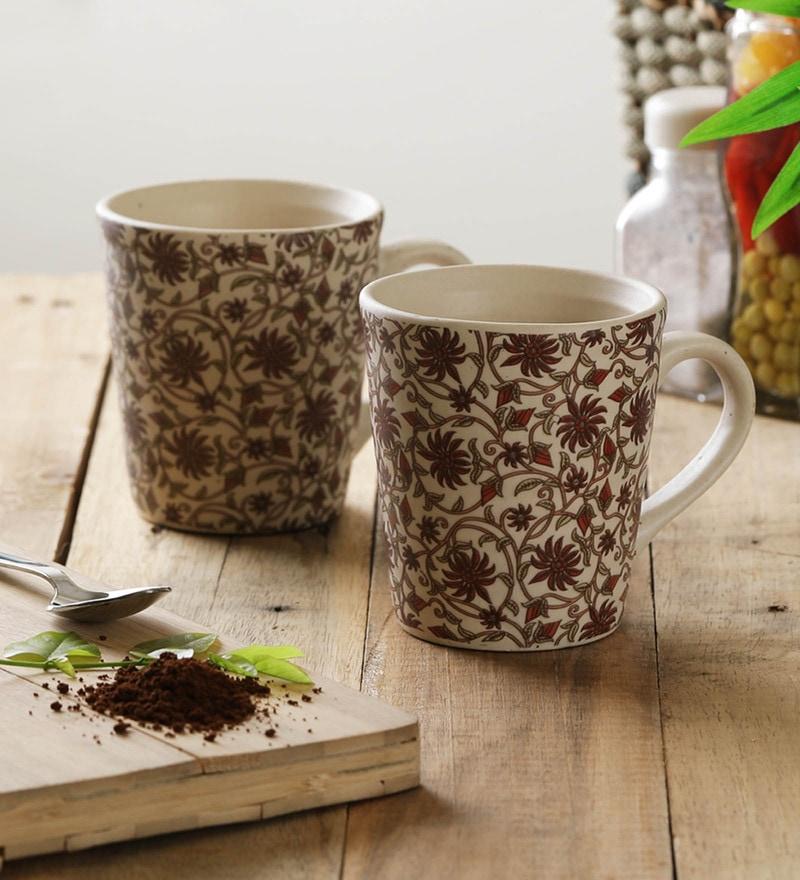 Miah Decor Ribbed Decal Stoneware 300 ML Mugs - Set of 4