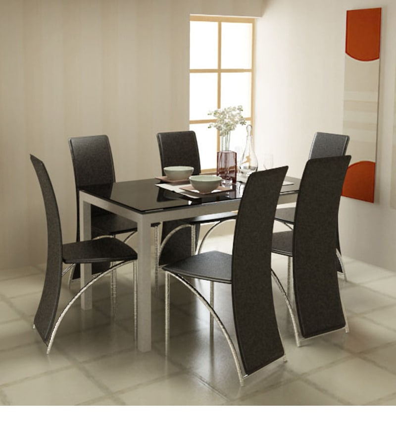 Midnight Dining Table with Black Glass Top by Godrej  : midknight dining table with black glass top by godrej interio midknight dining table with black glas 9fz9dv from www.pepperfry.com size 800 x 880 jpeg 63kB
