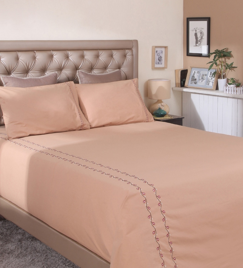 Brown Cotton King Size Bed Sheet by Milano Home