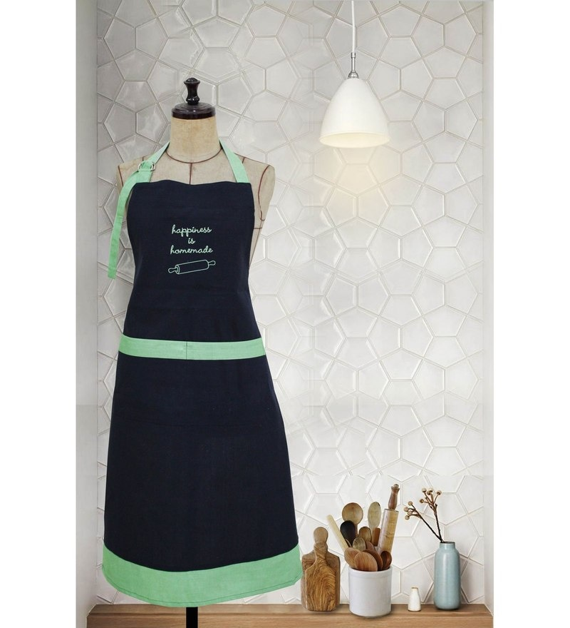 Milano Home Green 100% Cotton Happiness is Homemade Apron with Adjustable Neck & Pocket