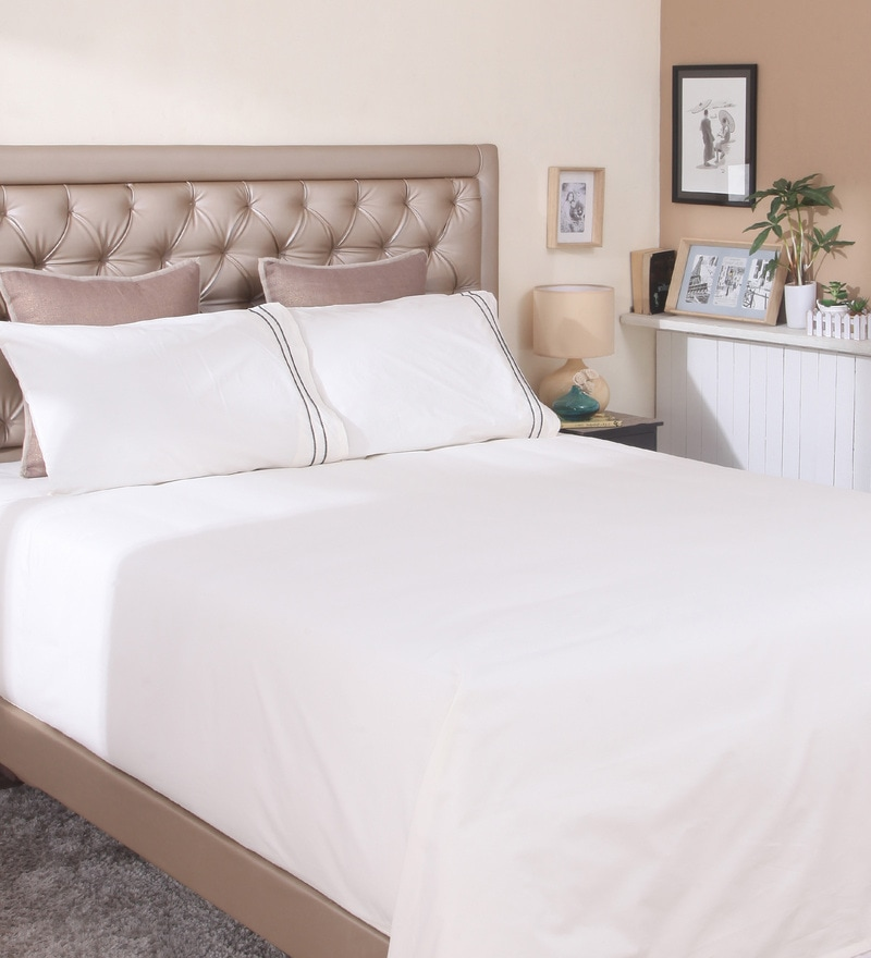 Ivory Cotton King Size Bedsheet by Milano Home