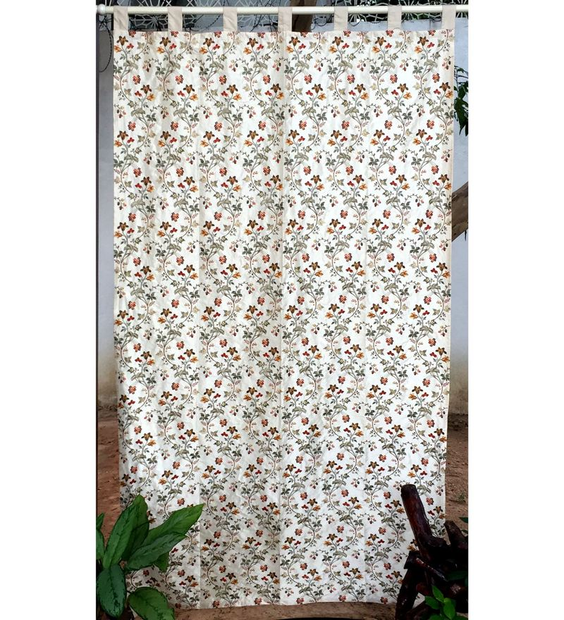 Multicolour Silk 90 x 51.5 Inch Embroidered Tab Top Curtain by Milano Home