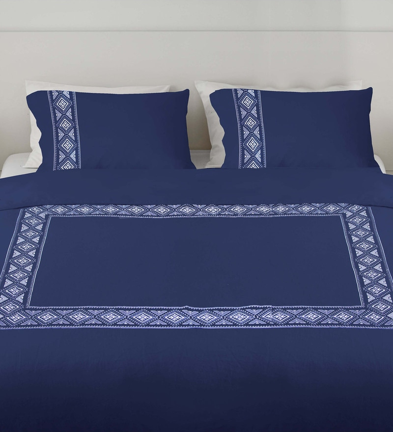 Navy 100% Cotton Queen Embroidered Button Duvet Cover by Milano Home