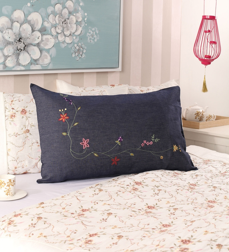 Navy Blue Cotton 19 x 30 Pillow Cover by Milano Home