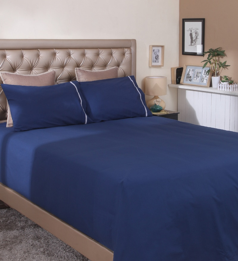 Navy Cotton King Size Bedsheet by Milano Home