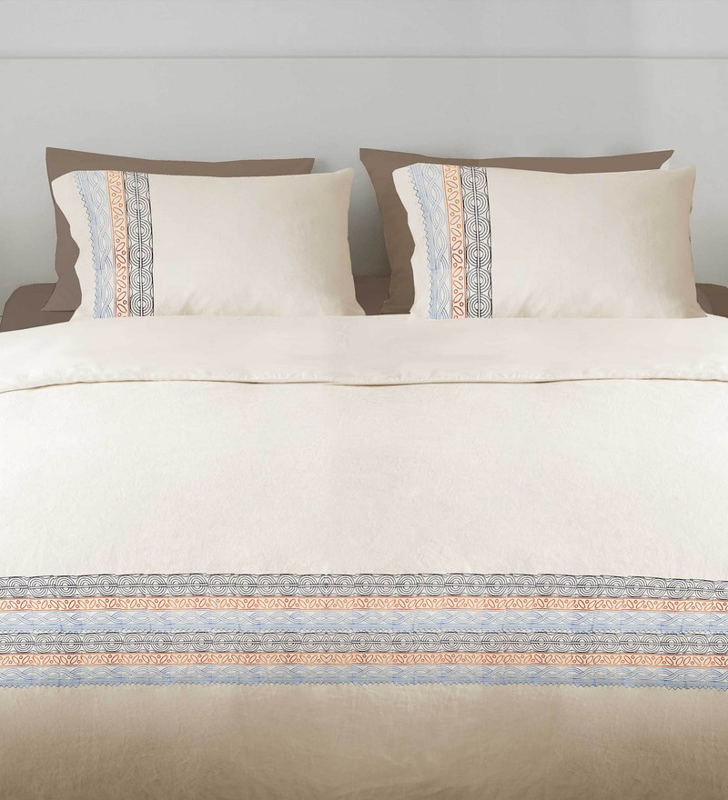 Off White 100% Cotton Queen Embroidered Button Duvet Cover by Milano Home
