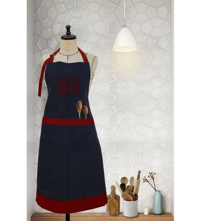 Milano Home Red 100% Cotton Whip It Apron with Adjustable Neck & Pocket