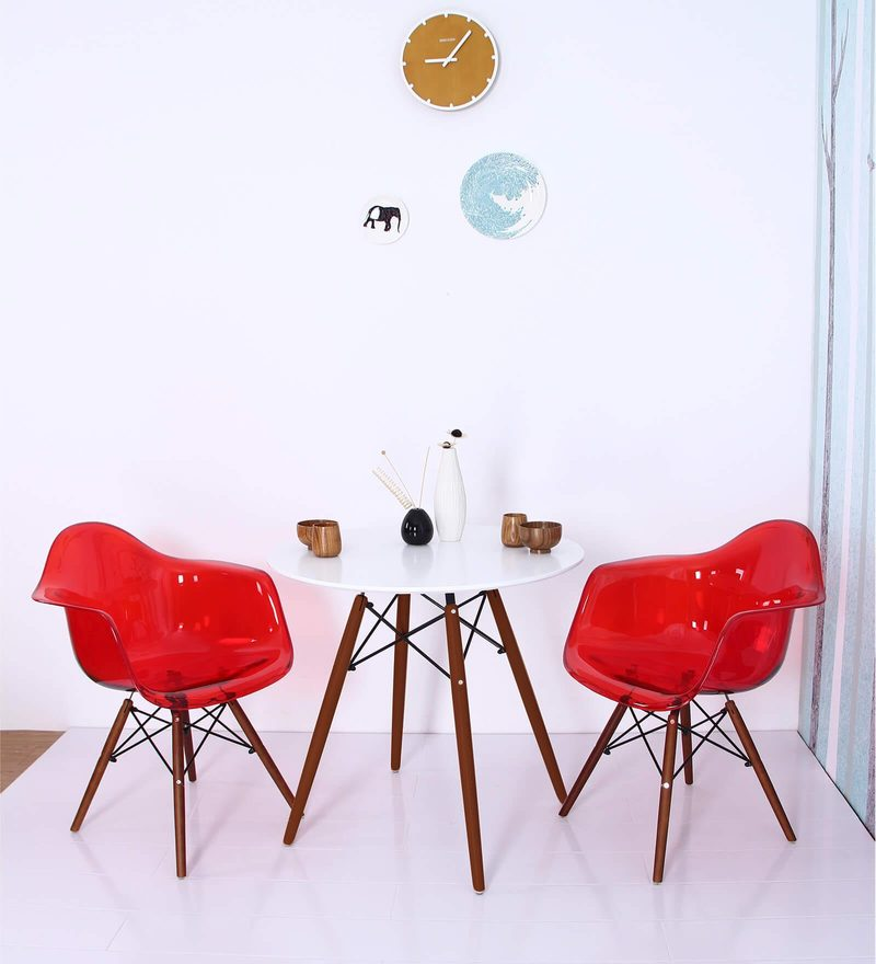 Mineko Accent DSW Eames Replica Plastic Chair (Set of 2) in Red Colour by Mintwud