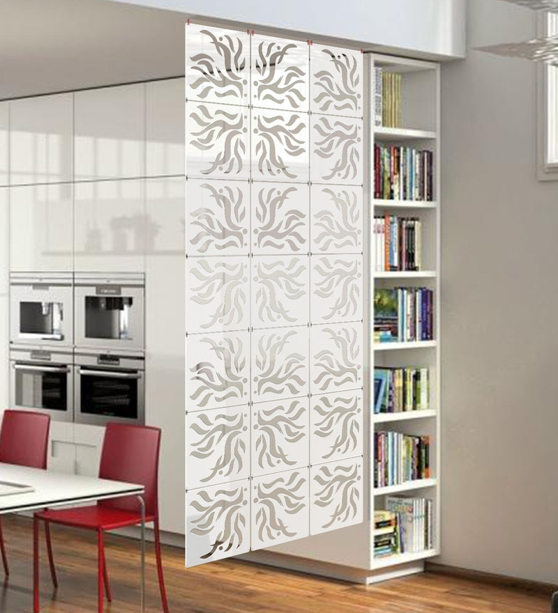 White Acrylic with Wooden Lamination Room Divider by Planet Decor