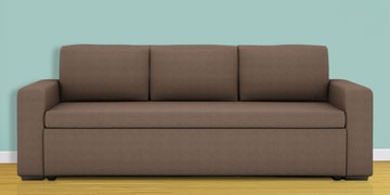 Morris Three Seater Sofa Cum Bed In Brown Colour