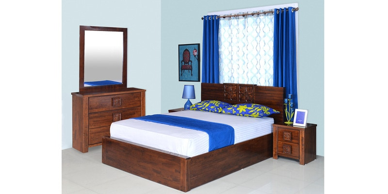Monalisa Queen Size Bedroom Set in Walnut & Caramel Colour by @Home