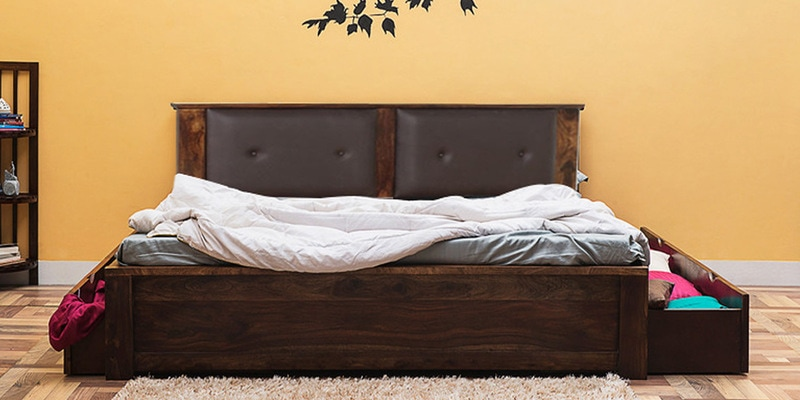 Dewey King Size Bed with Storage in Provincial Teak Finish by Woodsworth