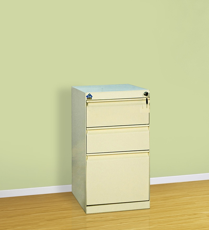 Mobile Multipurpose Pedestal with Drawers in White Colour by Delite Kom