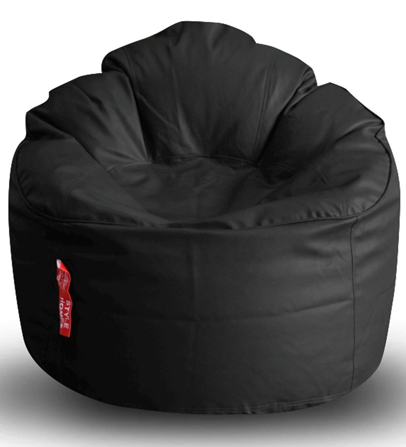 Modern Mooda Rocker XXXL Bean Bag with Beans in Black Colour by Style HomeZ