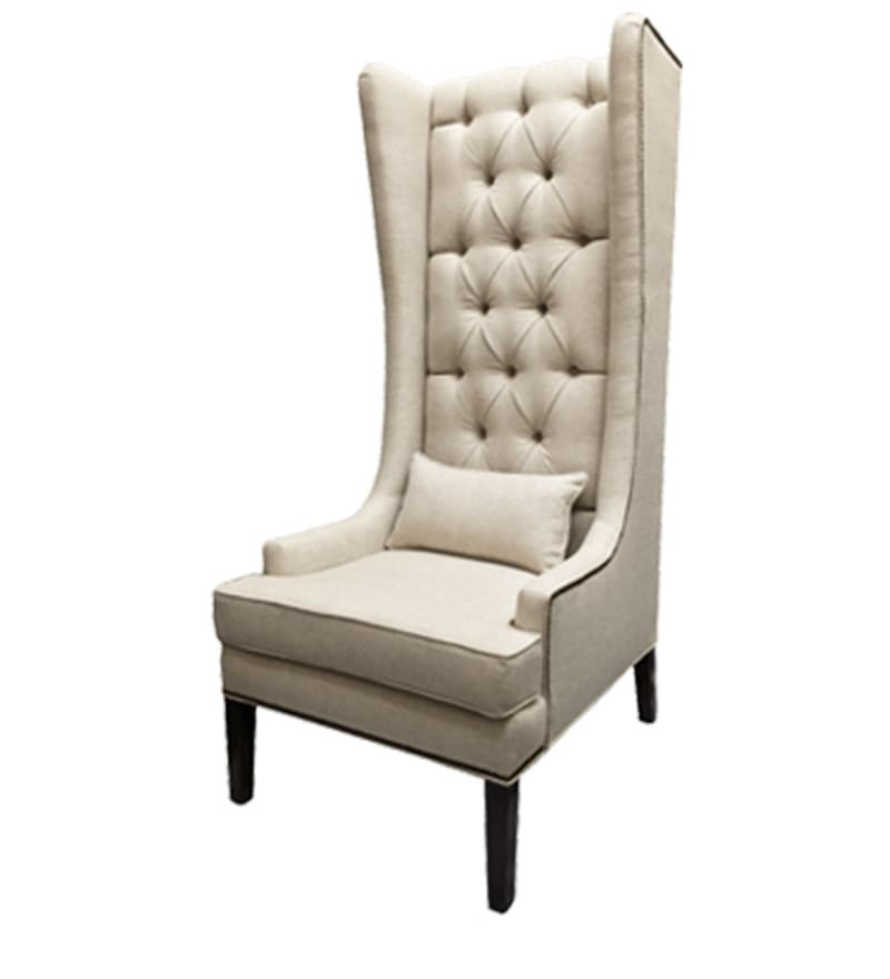 buy modern tall wing back chair in ivory color by afydecor online