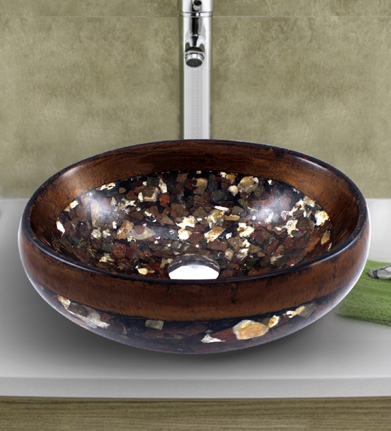 MonTero Oval Shaped Mica Granite Textured Brown Polyester Adhesive Basin
