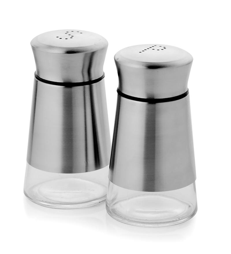 Mosaic Silver Glass Salt & Pepper Shaker - 2 Pcs