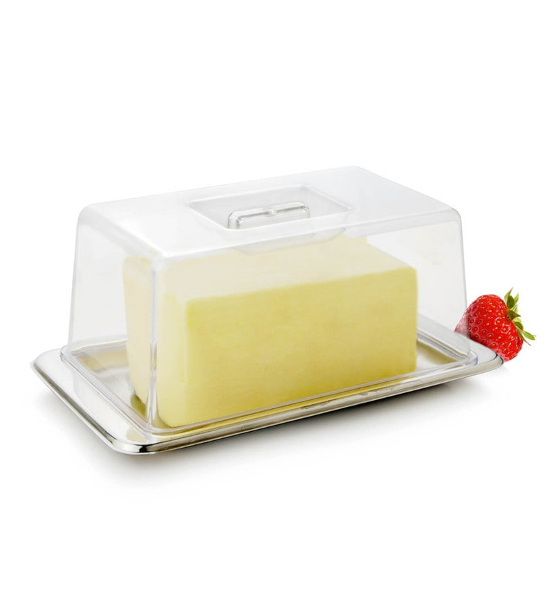Mosaic Stainless Steel Big Cover Butter Dish