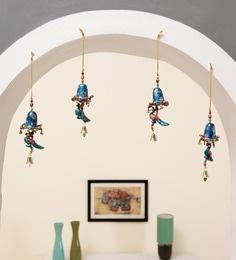 Multicolor Paper Mache Door Hanging Blue Peacock Set Of 4 Bells