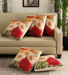 Multicolor Polyester Jute Fabric Flower Print Set Of 5 Cushion Covers