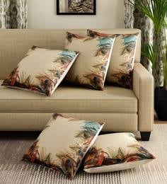 Multicolor Polyester Jute Fabric Peacock Feather Print Set Of 5 Cushion Covers