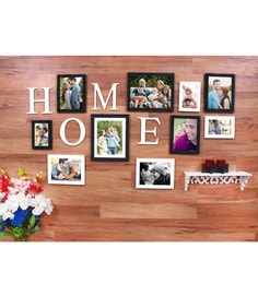 Multicolor Synthetic Wood Black And White Home Set Of 10 Individual Photo Frame
