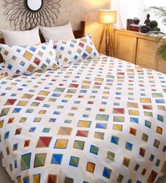 Galaxy Abstract Pattern 120TC Cotton Queen Size Bed Sheet With 2 Pillow  Covers ...