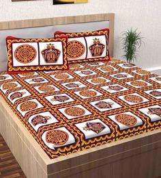 Multicolour 100% Cotton Queen Size Bedsheet   Set Of 3 ...