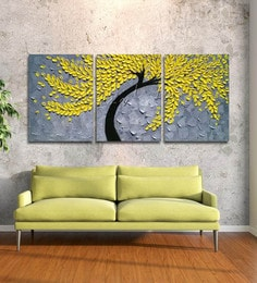 Multicolour 3 Pieces Framed Panel Wall Art Palette Knife Hand Painted Yellow Flowerwall