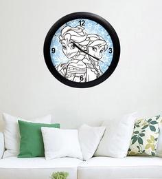 Multicolour Acrylic & Glass 10 X 2 X 10 Inch Anna & Elsa Digital Printed Wall Clock