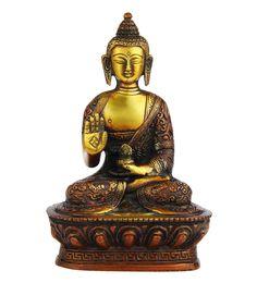 Multicolour Brass Blessing Sitting Buddha Brass Statue