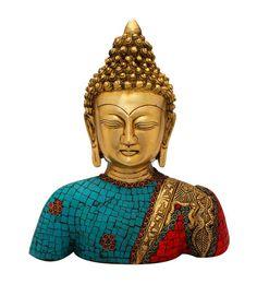 Multicolour Brass Medicine Buddha Brass Bronze Statue