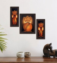 Multicolour Brightened Decor Set Of 3 Framed Wall Art Painting