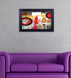 Multicolour Canvas Cloth Modern Art With Circles Digital Art Print