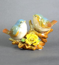 Multicolour Ceramic Extremely Cute Pair Of Love Birds Showpiece - 1642887