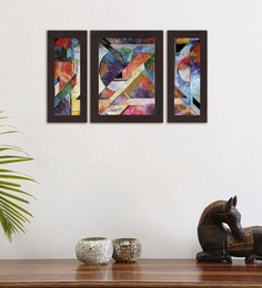 Multicolour Colourful Hues Set Of 3 Framed Wall Art Painting