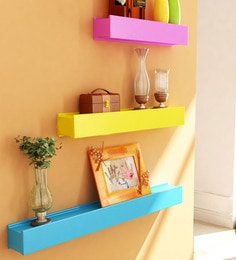 Multicolour Engineered Wood Engineered Wood Wall Shelves